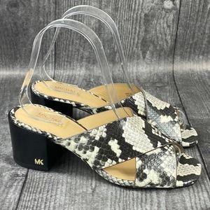 Michael Kors Abbott snake skin sandal 7 M Heel New